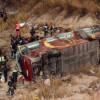 В Испании туристический автобус рухнул в овраг, 14 человек погибли