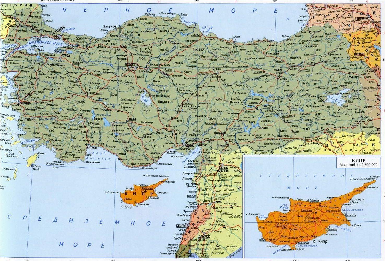подробная карта Турции русский язык