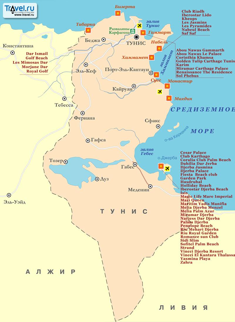 курорты и отели туниса на карте