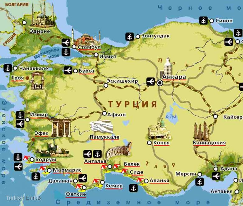 Памуккале на туристической карте Турции