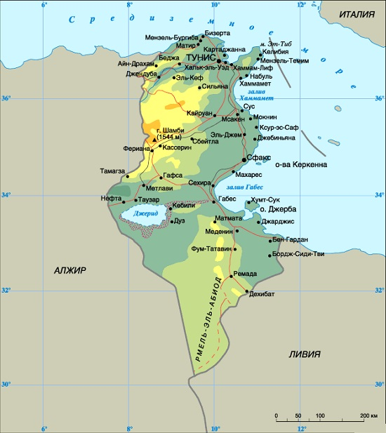 Карта Тунис на русском языке для туристов
