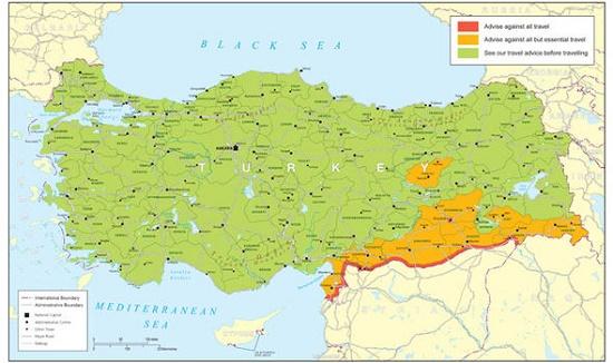 Турция: список запрещенных провинций для посещения туристов расширился