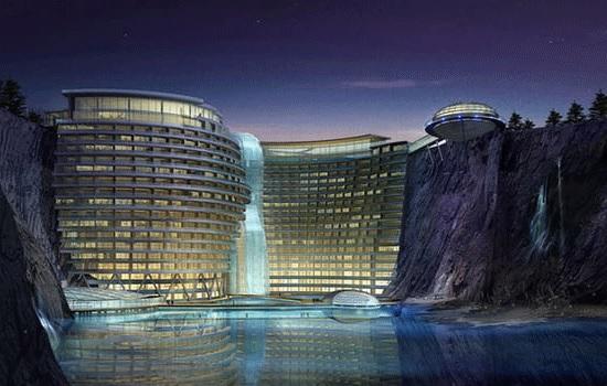 Роскошный отель в карьере: архитектурное чудо в Китае