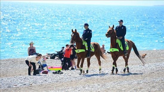 Конная полиция Антальи масово проверяет документы у туристов
