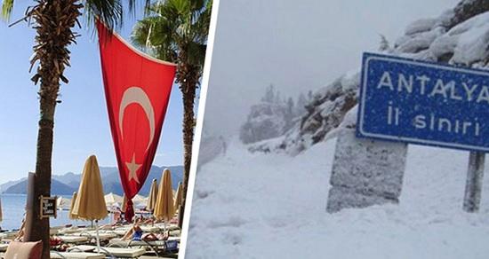 Анталия Турции в снегу, а туристы из России с удовольствием купаются в море