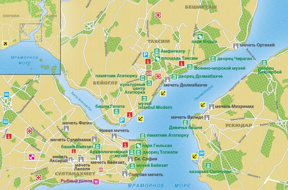 карта стамбула с достопримечательностями