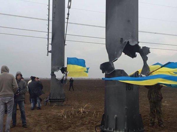 Подорванные ЛЭП на Украине