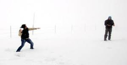 туристы решили поиграть в снежки