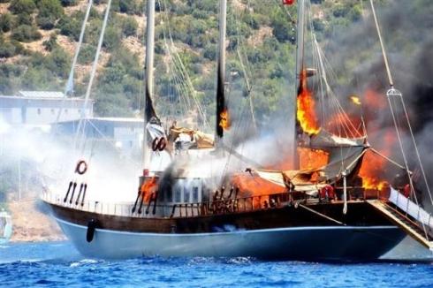 пожар на яхте в бодруме