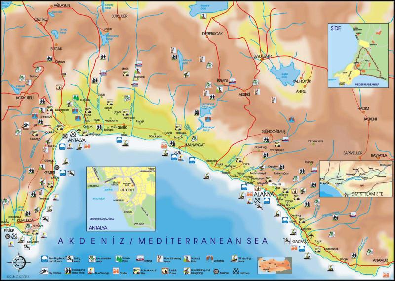 карта побережья средиземного моря