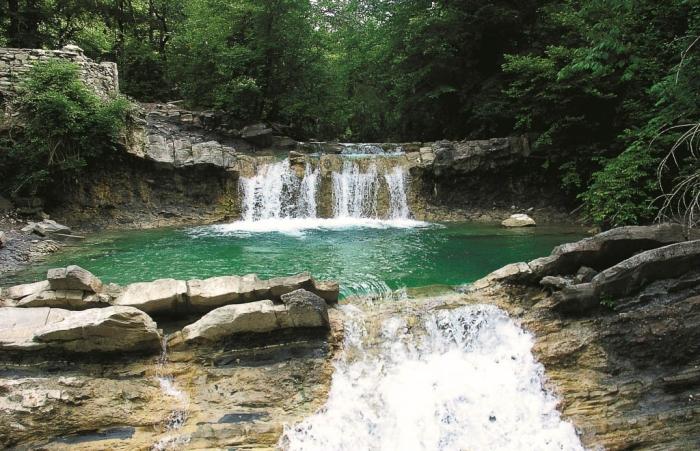 система водопадов на реке жане